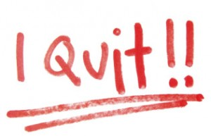 I quit, in red marker.