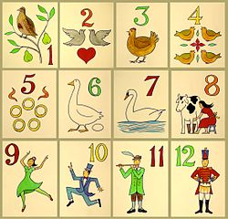 The Twelve Days of Christmas song poster by Xavier Romero-Frias