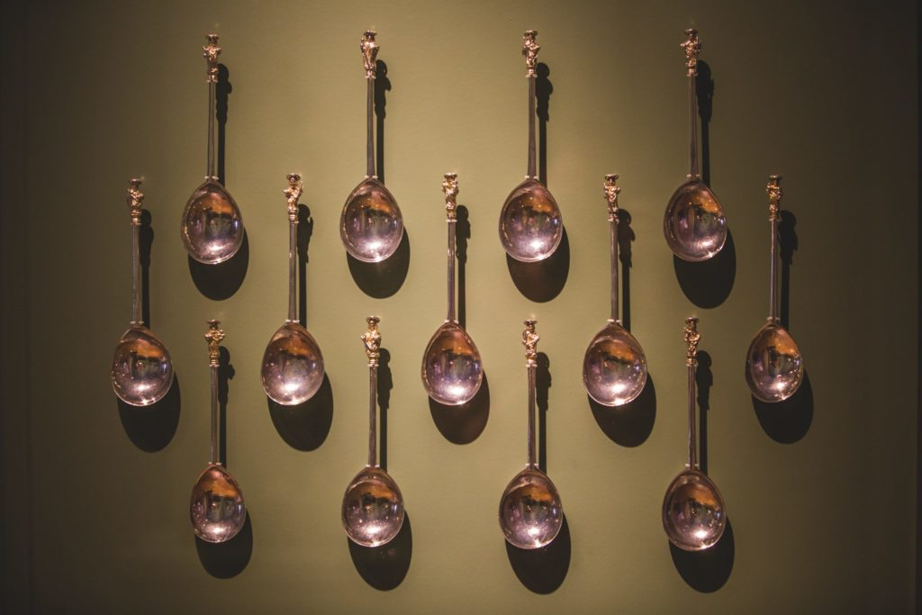 Spoons from the Last Supper. 13 spoons, hanging on a wall